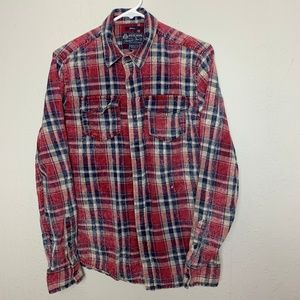 American Rag CIE S Red Blue Cotton Plaid Shirt